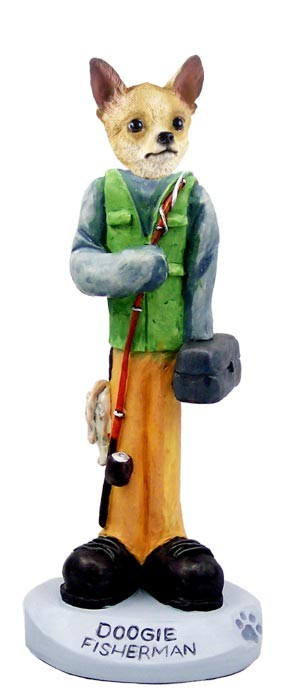 Chihuahua Tan/White Fisherman Doogie Collectable Figurine