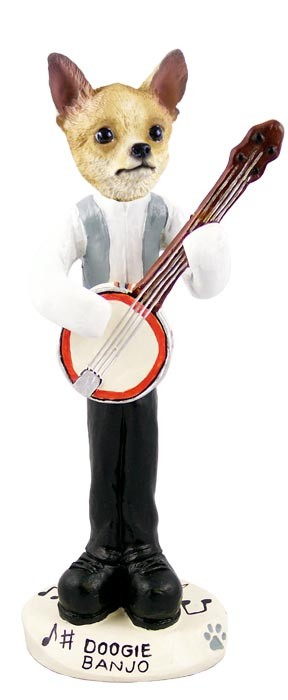 Chihuahua Tan/White Banjo Doogie Collectable Figurine