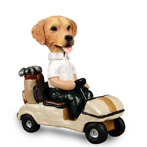 Golden Retriever Golf Cart Doogie Collectable Figurine