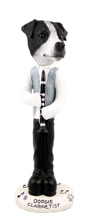 Jack Russell Terrier Black & White w/Smooth Coat Clarinetist Doogie Collectable Figurine