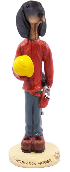 7dcbe9eef47 Coonhound Black   Tan Construction Worker Doogie Collectable Figurine