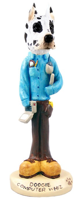 Great Dane Harlequin Computer Whiz Doogie Collectable Figurine