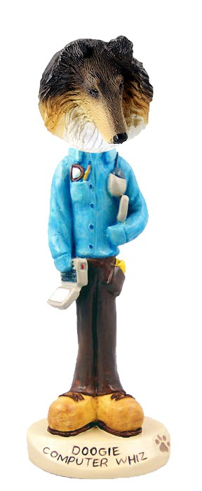 Collie Tricolor Computer Whiz Doogie Collectable Figurine