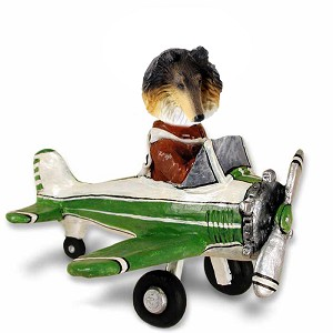 Collie Tricolor Airplane Doogie Collectable Figurine