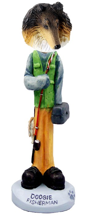Collie Tricolor Fisherman Doogie Collectable Figurine