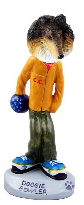 Collie Tricolor Bowler Doogie Collectable Figurine