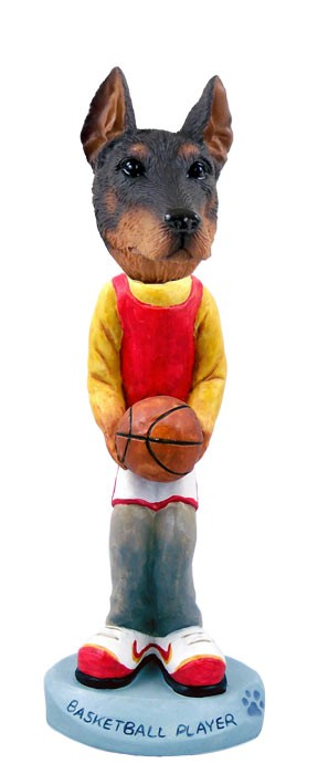 Doberman Pinscher Red w/Cropped Ears Basketball Doogie Collectable Figurine