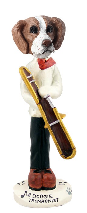 Brittany Brown & White Trombonist Doogie Collectable Figurine