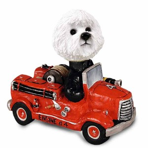 Bichon Frise Fire Engine Doogie Collectable Figurine