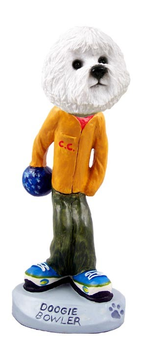 Bichon Frise Bowler Doogie Collectable Figurine