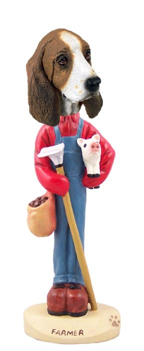 Basset Hound Farmer Doogie Collectable Figurine