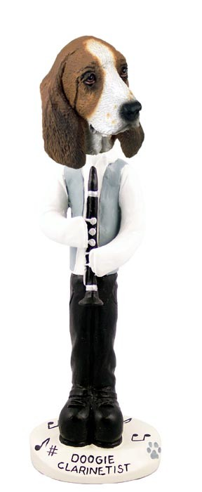 Basset Hound Clarinetist Doogie Collectable Figurine