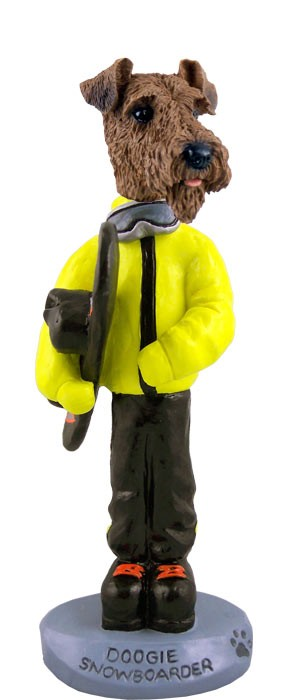 Airedale Snowboarder Doogie Collectable Figurine