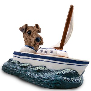 Airedale Sailboat Doogie Collectable Figurine