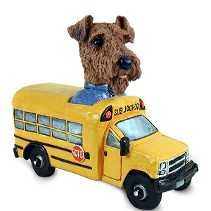 Airedale School Bus Doogie Collectable Figurine