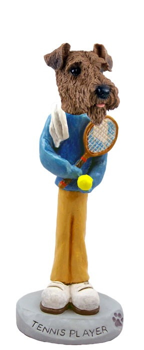 Airedale Tennis Player Doogie Collectable Figurine