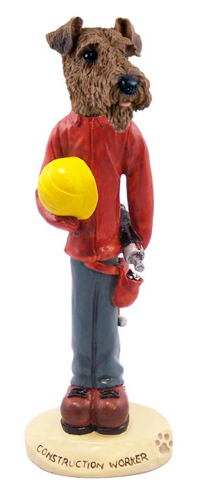 Airedale Construction Worker Doogie Collectable Figurine
