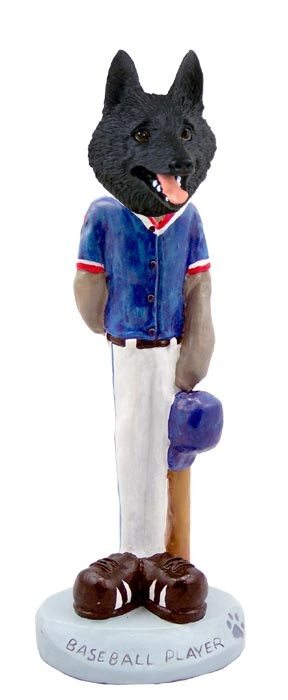 Schipperke Baseball Player Doogie Collectable Figurine