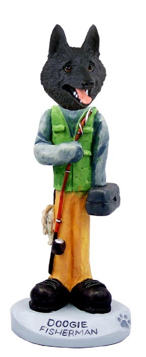 Schipperke Fisherman Doogie Collectable Figurine