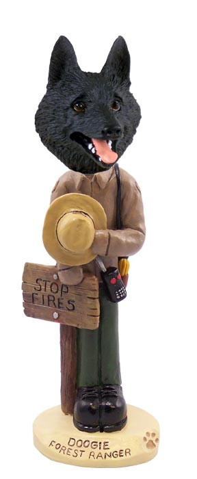 Schipperke Forest Ranger Doogie Collectable Figurine