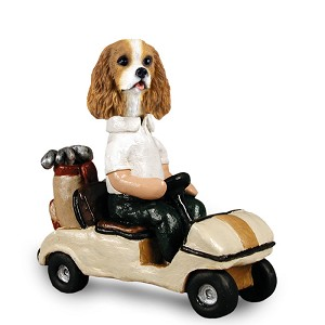Cavalier King Charles Spaniel Brown & White Golf Cart Doogie Collectable Figurine