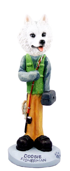 American Eskimo Fisherman Doogie Collectable Figurine