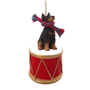 Doberman Pinscher Black w/Cropped Ears Drum Ornament
