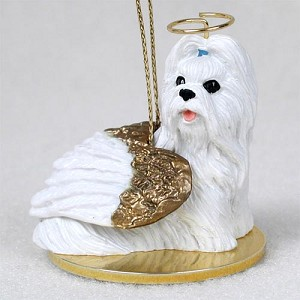 Shih Tzu White Pet Angel Ornament
