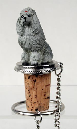Poodle Gray Bottle Stopper