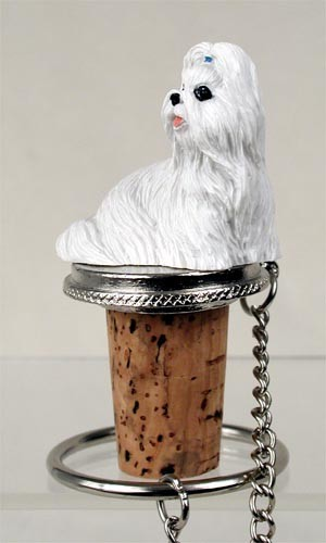 Shih Tzu White Bottle Stopper