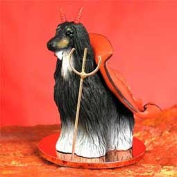 Afghan Black & White Devilish Pet Figurine