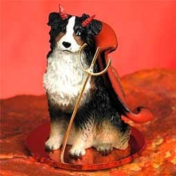 Australian Shepherd Tricolor Devilish Pet Figurine
