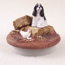"Cocker Spaniel Black & White Candle Topper Tiny One ""A Day on the Farm"""