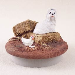 "Shih Tzu White Candle Topper Tiny One ""A Day on the Farm"""