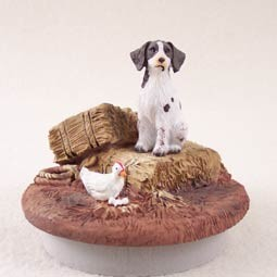 "Brittany Liver & White Spaniel Candle Topper Tiny One ""A Day on the Farm"""