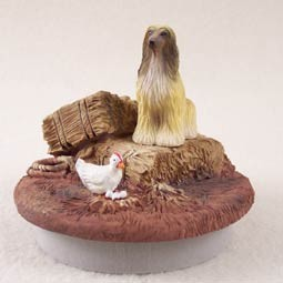 "Afghan Tan & White Candle Topper Tiny One ""A Day on the Farm"""