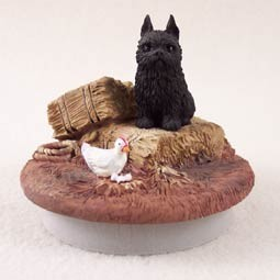 "Brussels Griffon Black Candle Topper Tiny One ""A Day on the Farm"""
