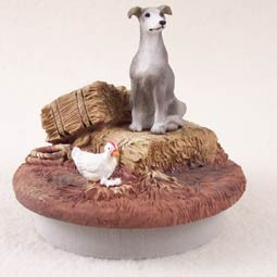 "Greyhound Blue Candle Topper Tiny One ""A Day on the Farm"""