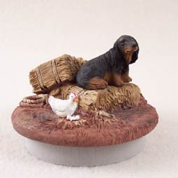 "Dachshund Longhaired Black Candle Topper Tiny One ""A Day on the Farm"""