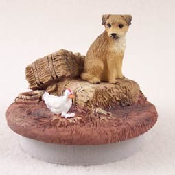 "Border Terrier Candle Topper Tiny One ""A Day on the Farm"""