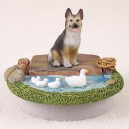 "German Shepherd Tan & Black Candle Topper Tiny One ""A Day on the Lake"""