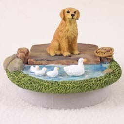 "Golden Retriever Candle Topper Tiny One ""A Day on the Lake"""
