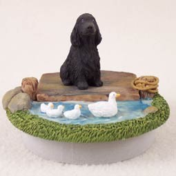 "Cocker Spaniel English Black Candle Topper Tiny One ""A Day on the Lake"""