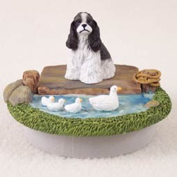 "Cocker Spaniel Black & White Candle Topper Tiny One ""A Day on the Lake"""