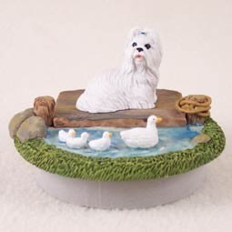 "Shih Tzu White Candle Topper Tiny One ""A Day on the Lake"""