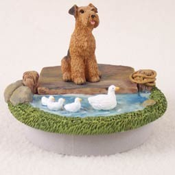 "Airedale Candle Topper Tiny One ""A Day on the Lake"""