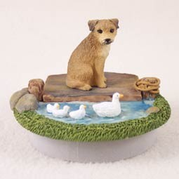 "Border Terrier Candle Topper Tiny One ""A Day on the Lake"""