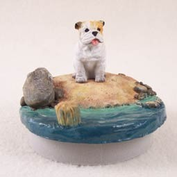 "Bulldog White Candle Topper Tiny One ""A Day on the Beach"""