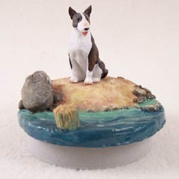 "Bull Terrier Brindle Candle Topper Tiny One ""A Day on the Beach"""