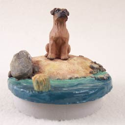 "Boxer Tawny w/Uncropped Ears Candle Topper Tiny One ""A Day on the Beach"""